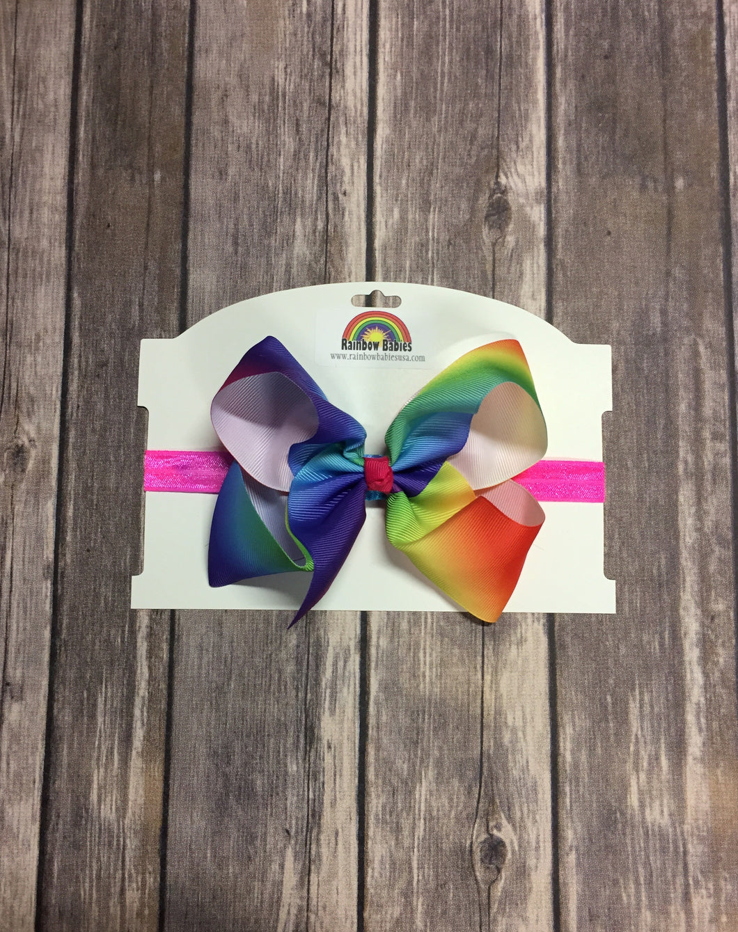 Headband, Big Colorful Bow - Rainbow Babies, LLC