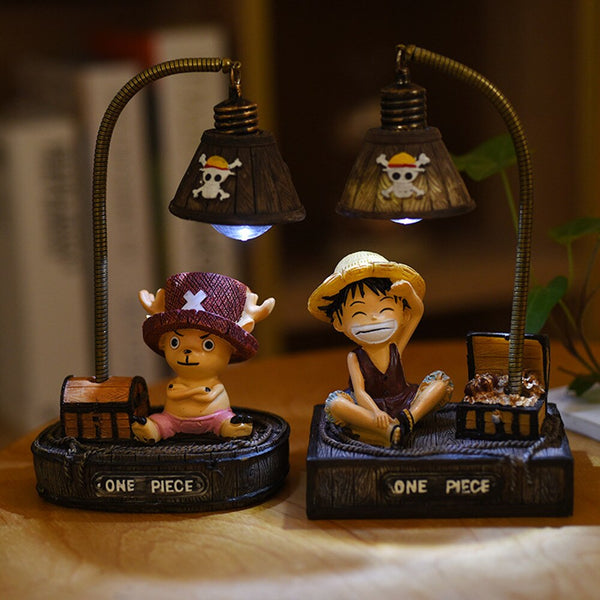 Creative Birthday Gift Anime Japanese-style Luffy Night Light Hand-made Student Gift Doll Resin Crafts Ornaments