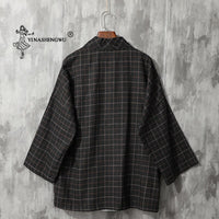 Japanese Kimono Retro Lattice Yukata Coat Men T-shirts Japan Long Sleeve Haori Cardigan Top Shirt Asian Traditional Robe Costume