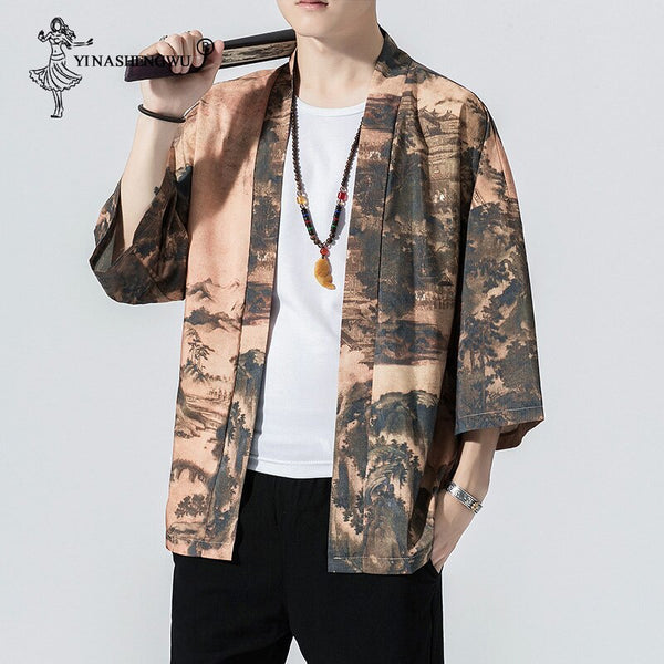 Yukata Women Japanese Kimono Traditional Harajuku Couple Kimonos Cardigan Men Beach Loose Thin Shirt Sun-protective Shirts Coat