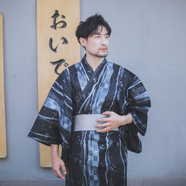 Traditional Japan Formal Kimono Yukata For Men Pajamas Samurai Asian Clothes Fashion Japanese Pajamas Long Sleeve Hekoobi