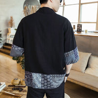 Japanese Kimono Men Cardigan Streetwear Yukata Male Shirt Haori Mens Kimono Shirt Traditional Japanese Samurai Clothing 4XL 5XL