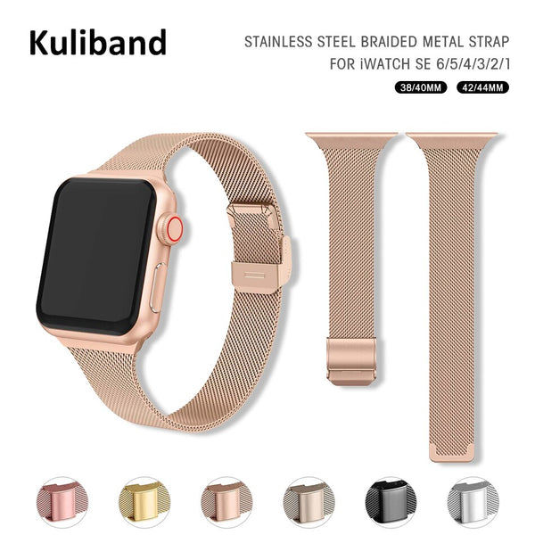 Slim Metal Strap for Apple Watch 6/SE/5/4/3/2/1 38mm 40mm Stainless Steel Watch band for iwatch series SE/6 42MM 44MM Bracelet