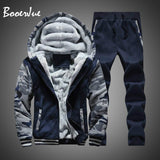 Tracksuit Men Winter Camouflage Hoodies Casual Hooded Warm Sweatshirts Thick Fleece 2PC Jacket+Pant Men Moleton Masculino M-4XL