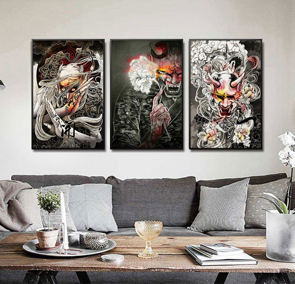No frame Japanese Ukiyoe wall pictures for living room horrific Japan Samurai canvas print poster pictures for home design