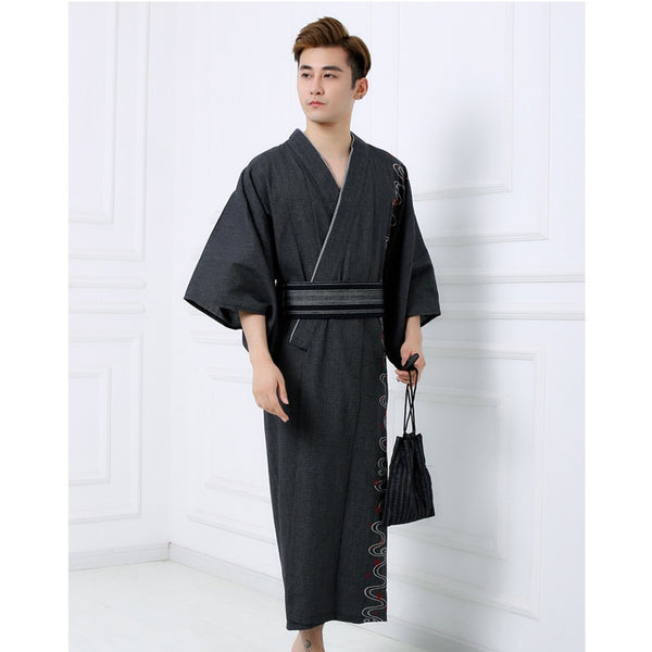 Autumn Winter Man Kimono Yukata Traditional Japanese Costumes Samurai Men Embroidery Jinbei Bathing Robe Gown Sleepwear