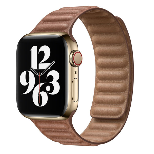Leather Link for Apple watch band 44mm 40mm 38mm 42mm 1:1 Original watchabnd Magnetic Loop bracelet iWatch seires 5 4 SE 6 strap