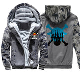 2019 New Winter Luffy Coat Thick Hoodies Japan Anime One Piece Sweatshirts Men Funny Camouflage Warm Clothing Raglan Streetwear