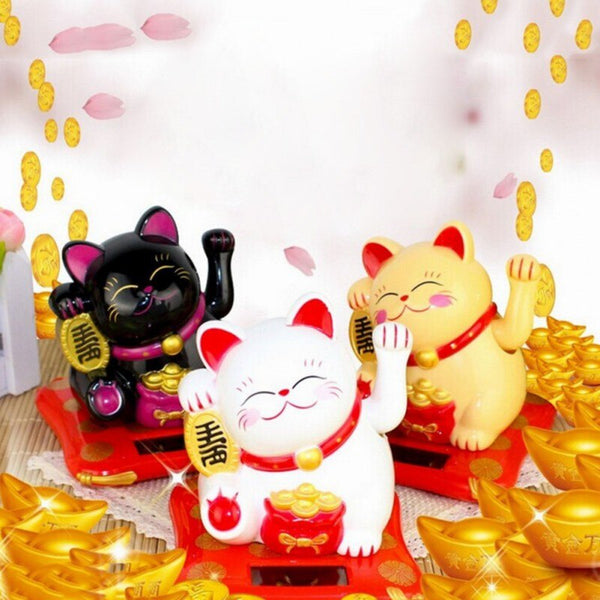 Solar Powered Craft Waving Arm Cat Beckoning Fortune Maneki Neko Japanese Style Ornament Lucky Kitty Home Office Hotel Decor