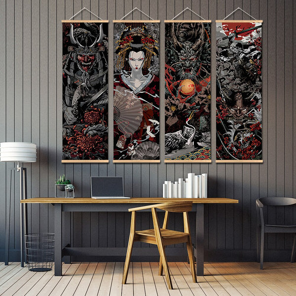 Wall Art Japan Samurai sakuran Scroll wall picture for living room aesthetic scroll paintings Vintage anime scroll poster