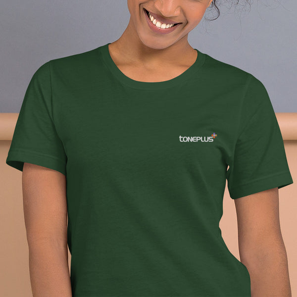 47 colors to choose: Toneplus XL-2XL Short-Sleeve Unisex T-Shirt White Embroidered Logo | Bella + Canvas 3001