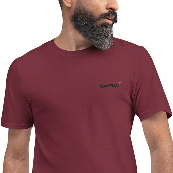 20 colors to choose: XL-2XL-3XL Unisex Lightweight T-Shirt Black Toneplus Embroidered Logo | Anvil 980
