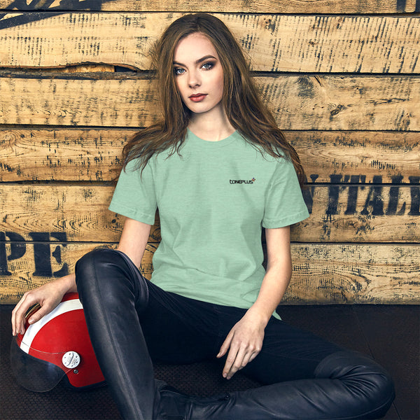 47 colors to choose: Toneplus M-L Short-Sleeve Unisex T-Shirt Black Embroidered Logo | Bella + Canvas 3001