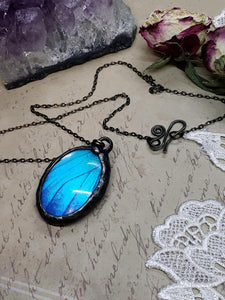 Blue Morpho Butterfly Necklace - Two-Sided Large Oval Smooth Shape in Gunmetal - The Steampunk Butterfly