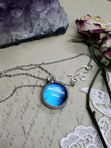 Blue Morpho Butterfly Necklace - Two-Sided Small Circle Smooth Shape in Silver - The Steampunk Butterfly