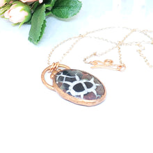 Load image into Gallery viewer, Electroformed Septarian Cabochon Necklace with Copper Chain - The Steampunk Butterfly