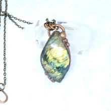 Load image into Gallery viewer, Electroformed Flashy Yellow Labradorite Pendant Necklace with Bronze Chain - The Steampunk Butterfly