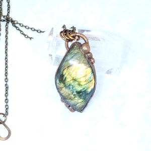 Electroformed Flashy Yellow Labradorite Pendant Necklace with Bronze Chain - The Steampunk Butterfly
