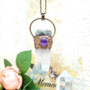 Electroformed Fluorite Point and Amethyst Crystal Necklace with Bronze Chain - The Steampunk Butterfly