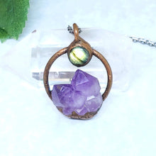 Load image into Gallery viewer, Electroformed Mini Moon Over the Mountain Amethyst and Labradorite Necklace with Gunmetal Chain - The Steampunk Butterfly