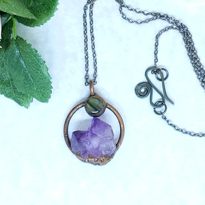 Electroformed Mini Moon Over the Mountain Amethyst and Labradorite Necklace with Gunmetal Chain - The Steampunk Butterfly