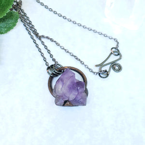 Electroformed Mini Amethyst Cluster Necklace with Gunmetal Chain - The Steampunk Butterfly