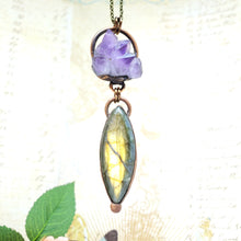 Load image into Gallery viewer, Electroformed Amethyst and Flashy Labrodorite Necklace with Bronze Chain - The Steampunk Butterfly