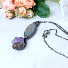 Load image into Gallery viewer, Electroformed Labrodorite and Amethyst Necklace with Gunmetal Chain - The Steampunk Butterfly