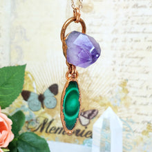 Load image into Gallery viewer, Electroformed Malachite Cabochon and Amethyst Cluster Pendant with Copper Chain - The Steampunk Butterfly