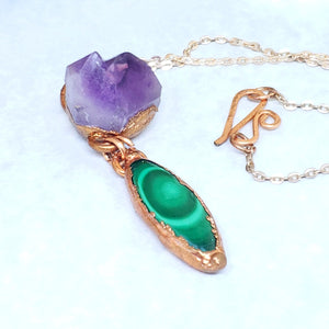 Electroformed Malachite Cabochon and Amethyst Cluster Pendant with Copper Chain - The Steampunk Butterfly
