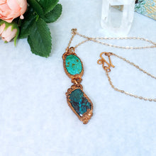 Load image into Gallery viewer, Electroformed Chrysocolla and Azurite Cabochon Pendant with Copper Chain - The Steampunk Butterfly
