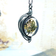 Load image into Gallery viewer, Steampunk Necklace in Gunmetal Fancy Wire Wrap Small - The Steampunk Butterfly