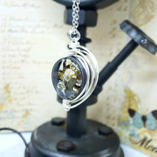 Load image into Gallery viewer, Steampunk Necklace in Silver Fancy Wire Wrap Small - The Steampunk Butterfly