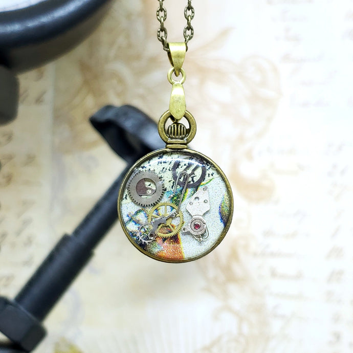 Steampunk Bronze Mini Pocket Watch Necklace - The Steampunk Butterfly