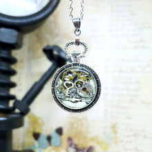 Load image into Gallery viewer, Steampunk Silver Mini Pocket Watch Necklace - The Steampunk Butterfly