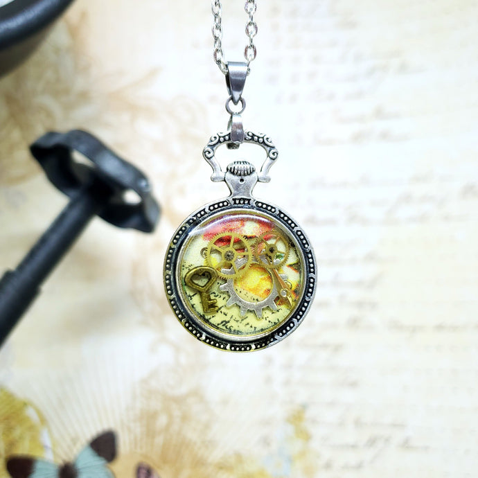 Steampunk Silver Mini Pocket Watch Necklace - Clearance