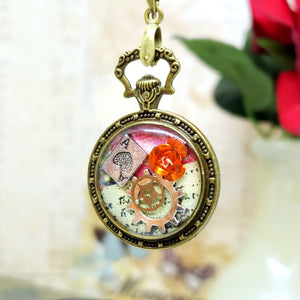 Alice in Wonderland Pocket Watch Necklace in Bronze - The Steampunk Butterfly