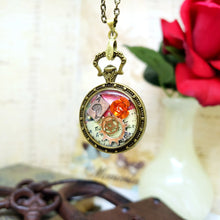 Load image into Gallery viewer, Alice in Wonderland Pocket Watch Necklace in Bronze - The Steampunk Butterfly
