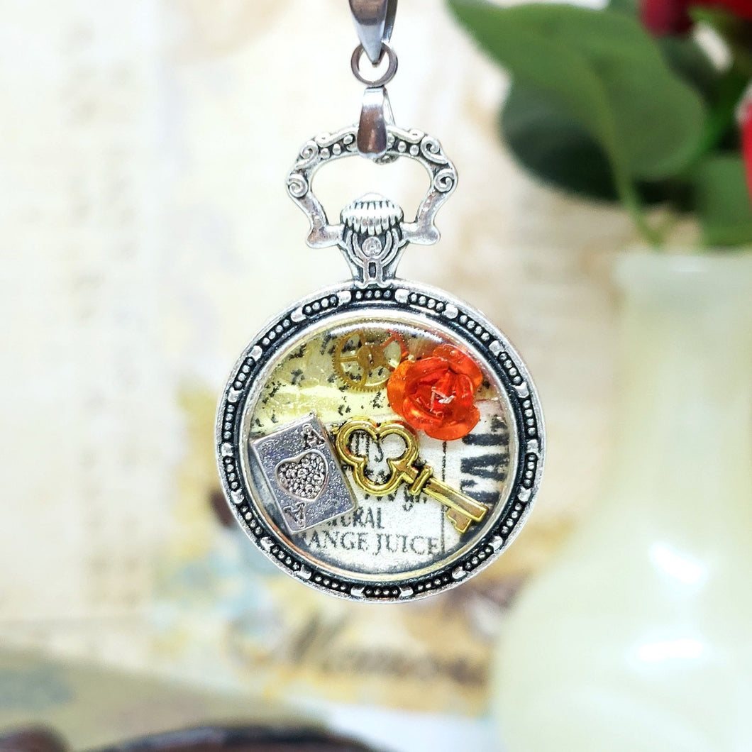 Alice in Wonderland Pocket Watch Necklace in Silver - The Steampunk Butterfly