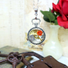 Load image into Gallery viewer, Alice in Wonderland Pocket Watch Necklace in Silver - The Steampunk Butterfly