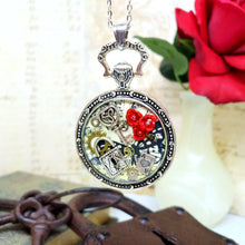 Load image into Gallery viewer, Alice in Wonderland Large Pocket Watch Necklace in Silver - The Steampunk Butterfly