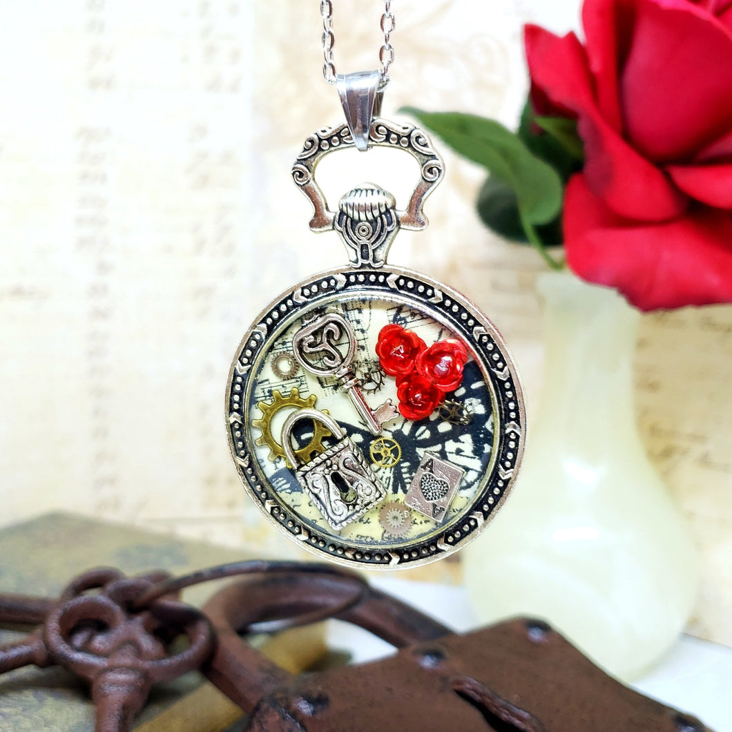 Alice in Wonderland Large Pocket Watch Necklace in Silver - The Steampunk Butterfly