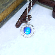 Load image into Gallery viewer, Blue Morpho Butterfly Small Circle Charm Necklace - The Steampunk Butterfly