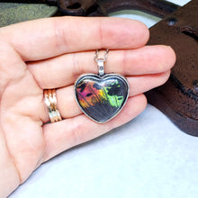 Load image into Gallery viewer, Madagascan Sunset Moth Silver Heart Necklace - The Steampunk Butterfly