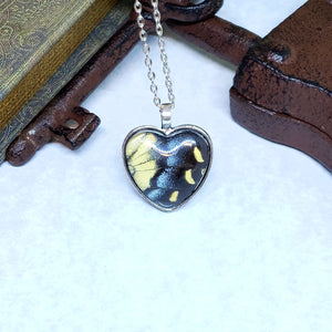 Eastern Tiger Swallowtail Butterfly Silver Heart Necklace - The Steampunk Butterfly