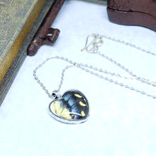 Load image into Gallery viewer, Eastern Tiger Swallowtail Butterfly Silver Heart Necklace - The Steampunk Butterfly