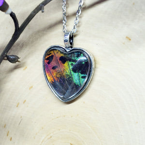 Madagascan Sunset Moth Silver Heart Necklace - The Steampunk Butterfly