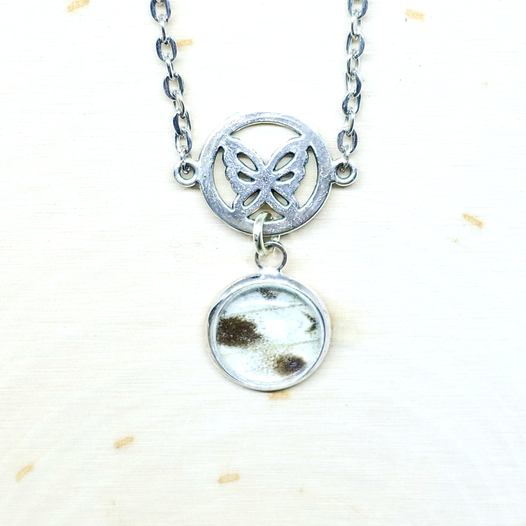 Mother of Pearl Butterfly Charm Necklace - The Steampunk Butterfly