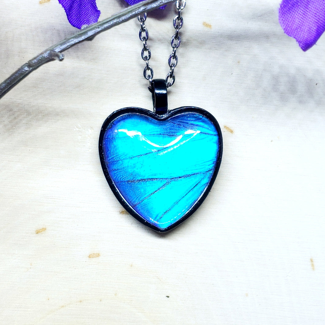 Blue Morpho Butterfly Black Heart Necklace - The Steampunk Butterfly