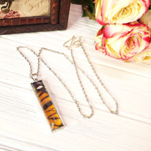 Load image into Gallery viewer, Monarch Butterfly Silver Rectangle Necklace - The Steampunk Butterfly